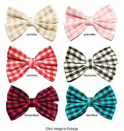 "4"" Checker Hair Bow Clip"