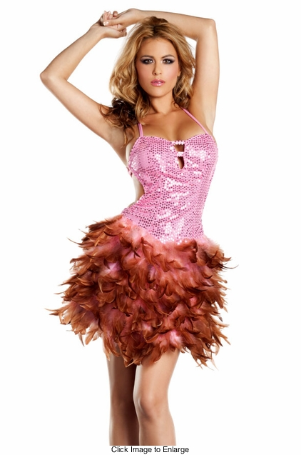 Pink Sequin and Feather Dress