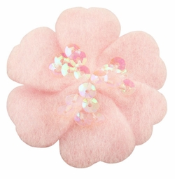 "1.75"" Felt Flower Hair Clips with Sequin Center in Pink for $5.00"