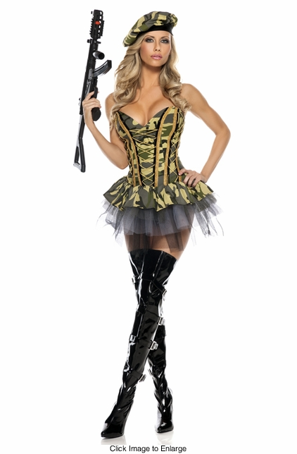 3-Piece Commando Army Girl Costume