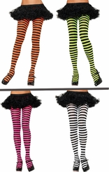 Punky Stripe Opaque Pantyhose in 11 Colors