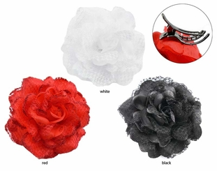"4.5"" Lace Flower Hair Clip with Claw"