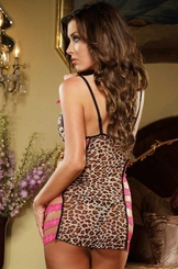 Leopard Mini Dress with Strappy Open Sides and Thong