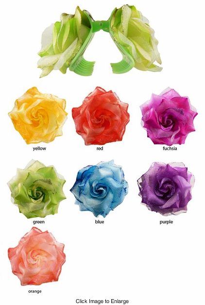 "3"" Wide Double Rose Flower Clip"