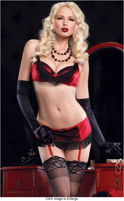 Sexy Valentine's Day Bra with Fringe, Garter Skirt & G-string