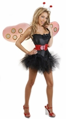 Corset Ladybug Costume with Skirt, Antennae, Belt and Wings