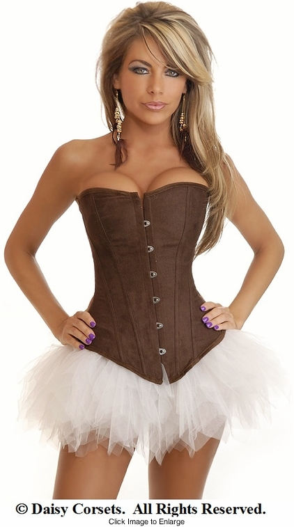 Chocolate Faux Suede Corset and Pettiskirt