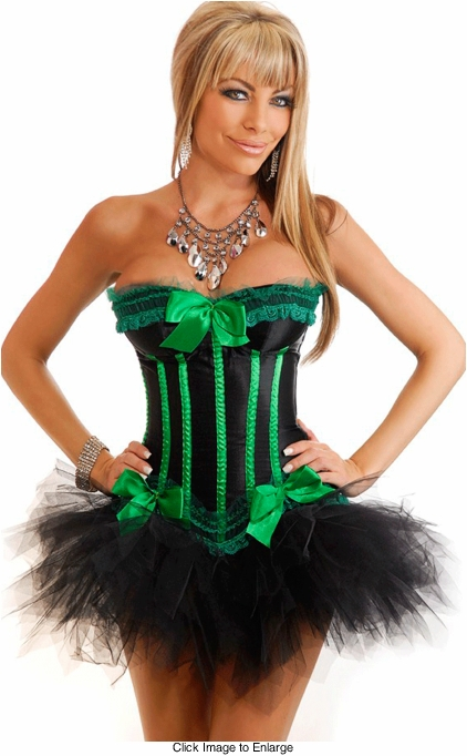 Green with Envy Genuine Corset and Pettiskirt Set