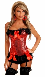 Red Sequin and Lace Corset