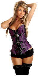 Fuchsia Brocade Corset With Vinyl Buckles