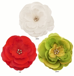 "3.5"" Luxe Chiffon and Silk Flower Hair Clip with Crystal Center"