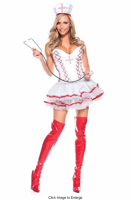 Corset Top Nurse Costume with Hat and Stethoscope