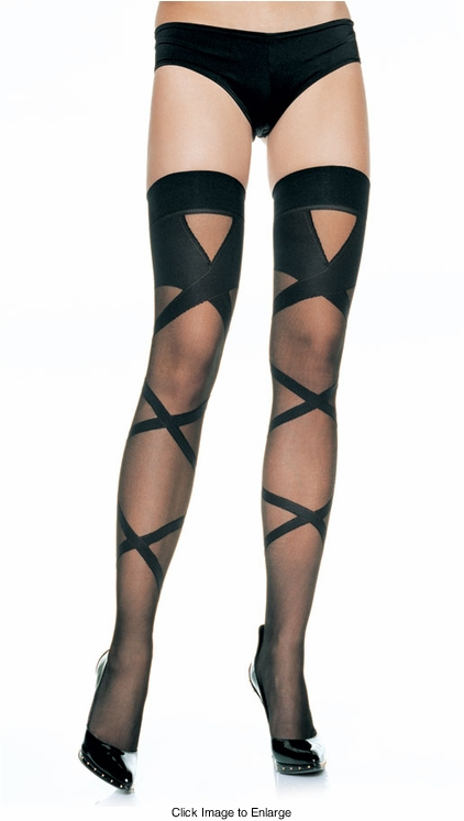 Sheer Thigh High Stockings with Opaque Criss-Cross Design