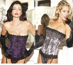 Classic Floral Brocade Corset with Thong in Purple or Pewter Grey