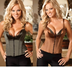 Reversible Satin and Spandex Olive/Brown Corset with Zip Front