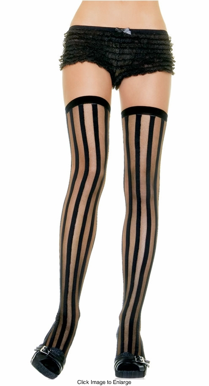 Sheer Stockings with Black Stripes