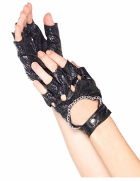 Faux Snake Skin Fingerless Gloves with Chain