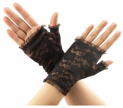 Lace Wrist Gloves with Ruffle
