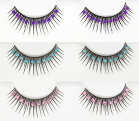 Black False Lashes with Crystal Stones
