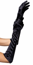Opera Length Snap Button Satin Gloves