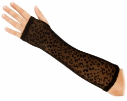Elbow Length Sheer Leopard Print Gloves