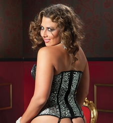 Plus Size Metallic Leopard Mesh Corset and Thong