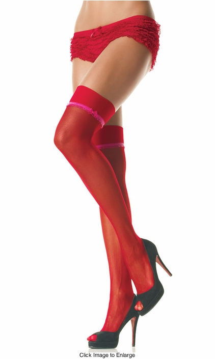 Plus Size Lycra Sheer Thigh High Stockings with Ruffle Trim and Bow