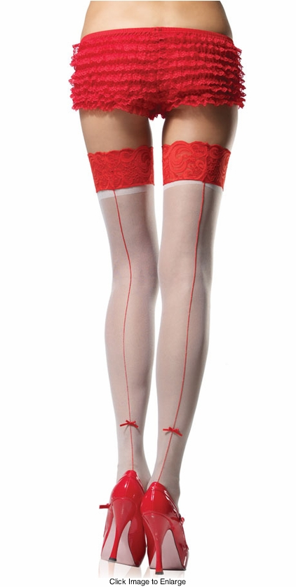 Sheer Thigh High Stockings with Red Lace And Back Seam