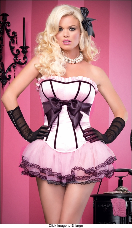 Brooke Corset in Padded Satin Silhouette with Bow