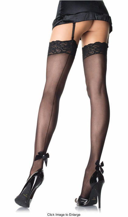 Sheer Thigh High Stockings with Back Seam and Bow
