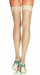 Sheer Thigh High Stockings with Back Seam And Lace Top
