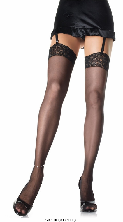 Sheer Lace Top Thigh Highs with Rhinestone Anklet