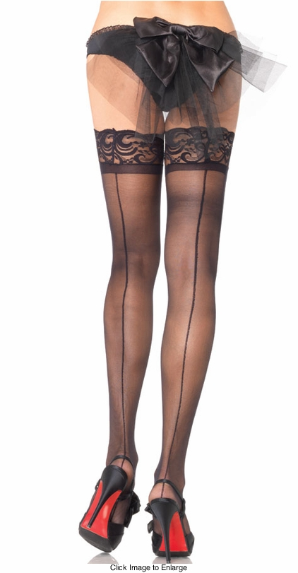 Stay Up Sheer Stockings with Back Seam