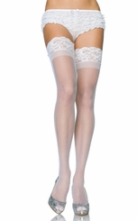 Stay Up Sheer Lycra Thigh High Stockings with Silicone Lace Top