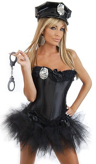 Black Corset Police Cop Woman 5-Piece Costume