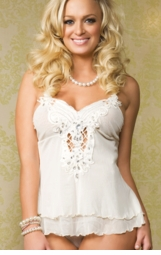 Jeweled Embroidered Butterfly Babydoll Lingerie