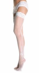 Wedding Sheer Thigh High Stockings with Lace Top and Flower Design
