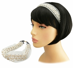 "1.5"" Wide Ivory Mesh, Crystal and Beads Headband"