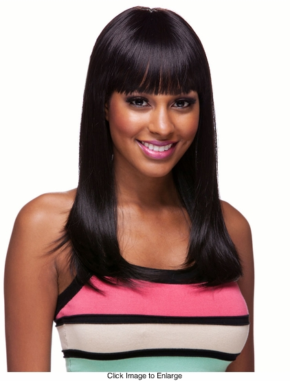 Long and Straight Human Hair Blend Wig