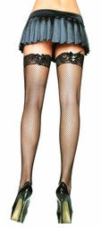 Fishnet Stockings with Lace-up Lace Top