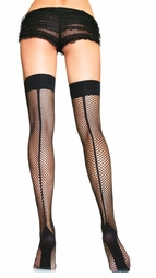 Fishnet Cuban Heel Backseam Thigh Highs