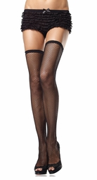 Fishnet Thigh High Stockings with Scalloped Elastic Top