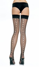 RetroThigh High Stockings with Keyhole Back Seam