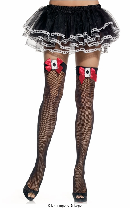 Queen of Hearts Fishnet Thigh Highs with Bow and Card