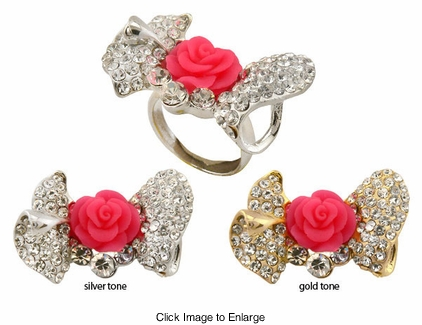"1.5"" Crystal Bow and Rose Ring"