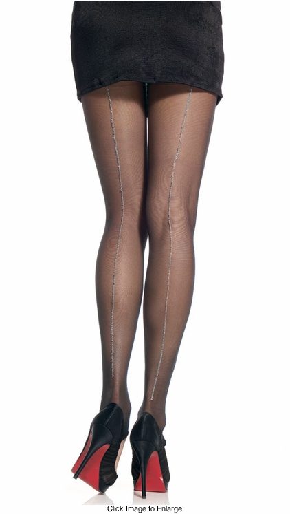 Sheer Lycra Pantyhose with Lurex Back Seam