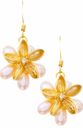 Designer Flower Pearl Dangle Earrings