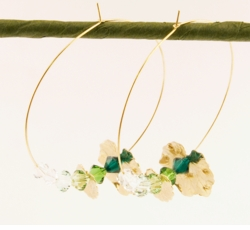 "2.5"" Crystal Lilly Pad Hoop Designer Earrings"