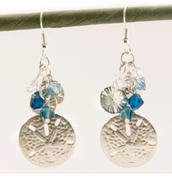 "2.15"" Silver Sand Dollar Designer Earrings"