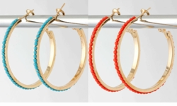 "1.5"" Wide Turquoise or Coral Round Hoop Earrings"